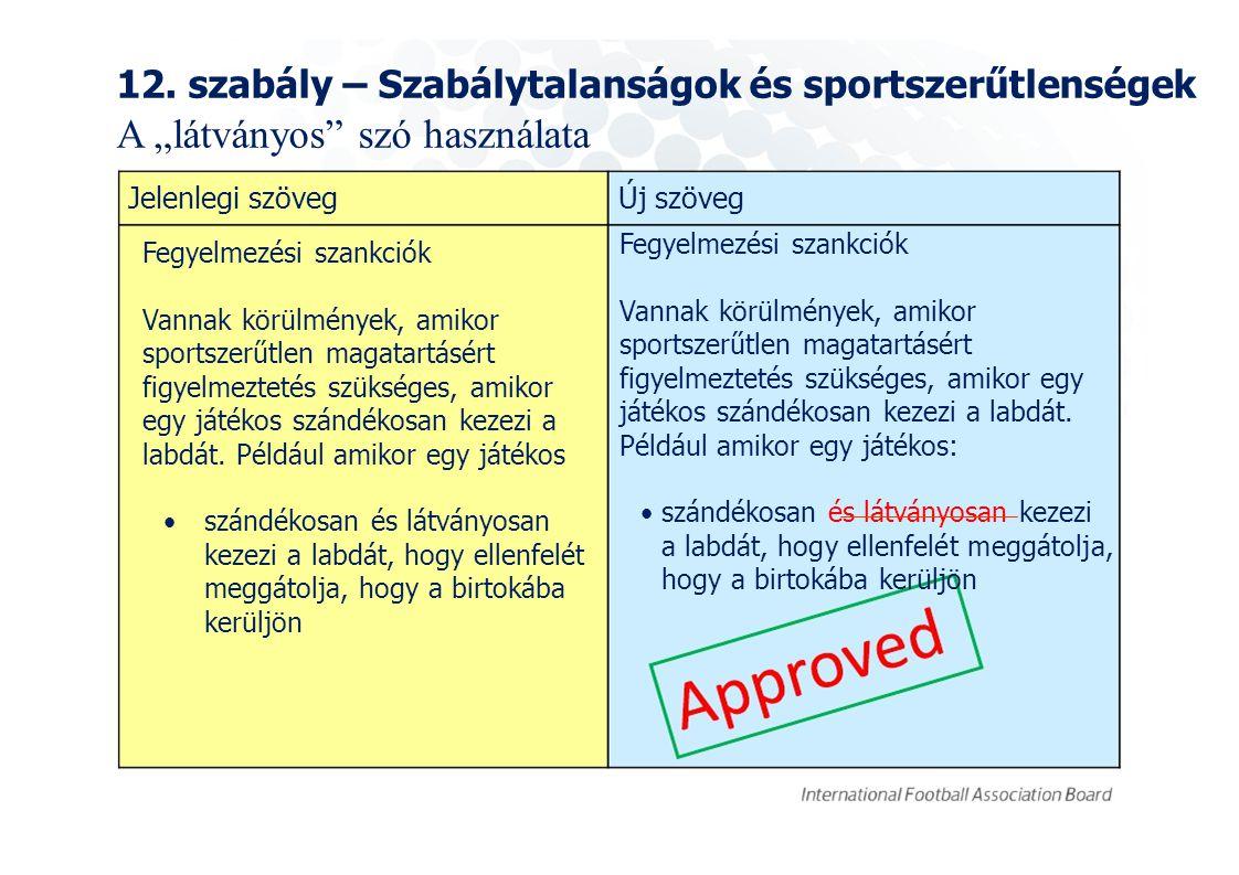 """12. szabály – Szabálytalanságok és sportszerűtlenségek A """"látványos"""" szó használata Jelenlegi szövegÚj szöveg Fegyelmezési szankciók Vannak körülménye"""