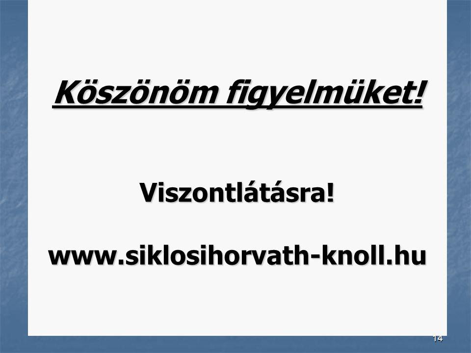14 Köszönöm figyelmüket! Viszontlátásra! www.siklosihorvath-knoll.hu