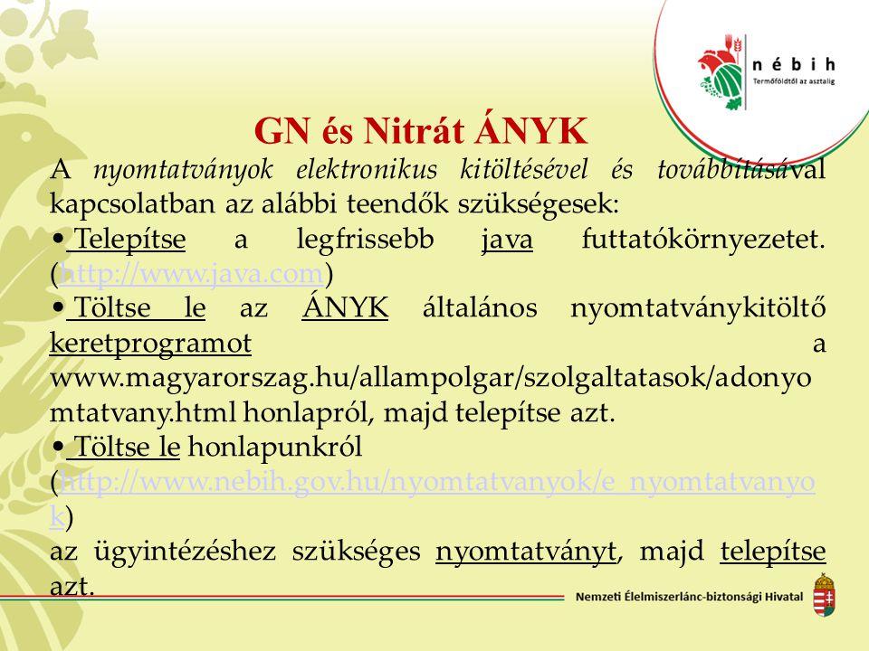 GN és Nitrát ÁNYK A nyomtatványok elektronikus kitöltésével és továbbításával kapcsolatban az alábbi teendők szükségesek: Telepítse a legfrissebb java
