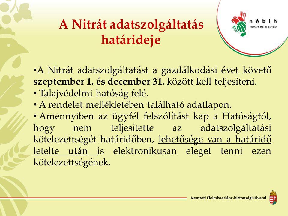 A Nitrát adatszolgáltatás határideje A Nitrát adatszolgáltatást a gazdálkodási évet követő szeptember 1. és december 31. között kell teljesíteni. Tala