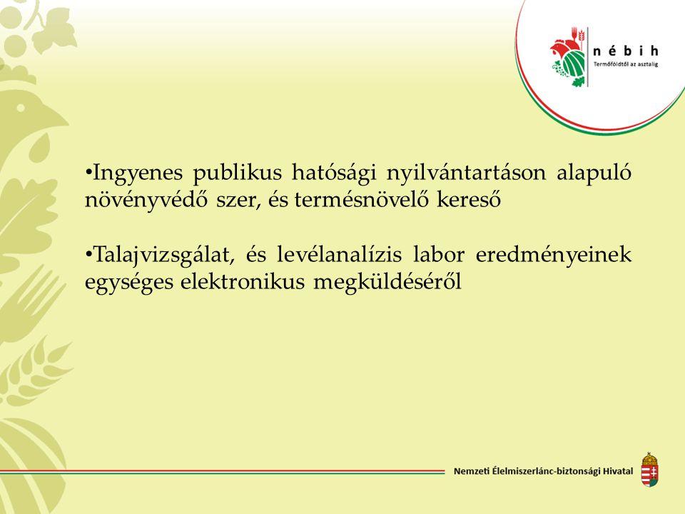 Ingyenes publikus hatósági nyilvántartáson alapuló növényvédő szer, és termésnövelő kereső Talajvizsgálat, és levélanalízis labor eredményeinek egység