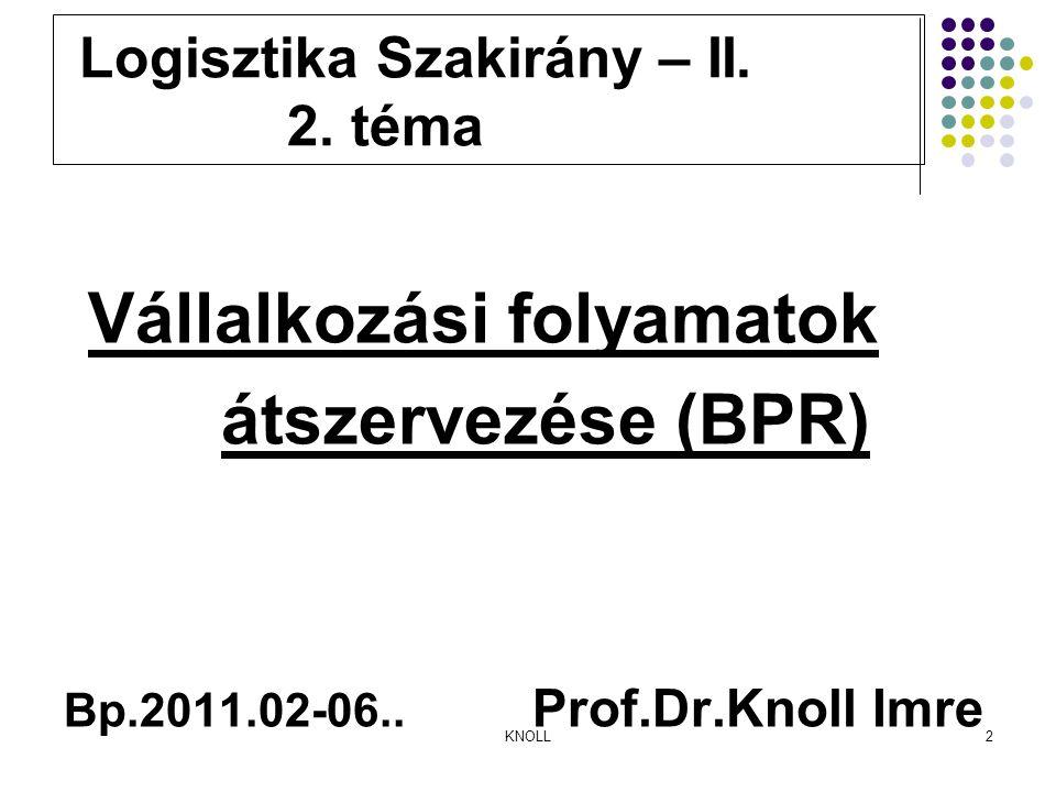 KNOLL2 Logisztika Szakirány – II. 2.