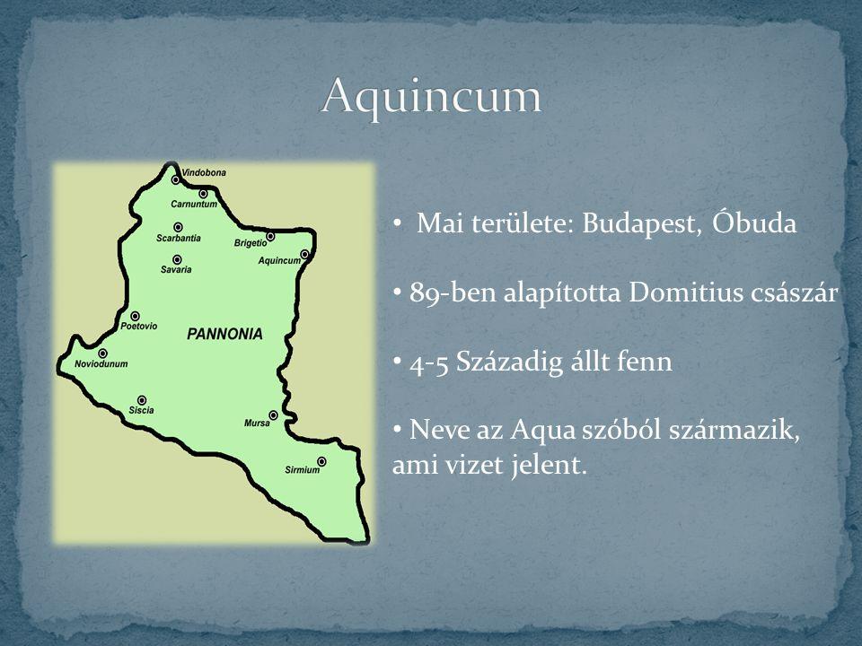 Mai területe: Budapest, Óbuda 89-ben alapította Domitius császár 4-5 Századig állt fenn Neve az Aqua szóból származik, ami vizet jelent.