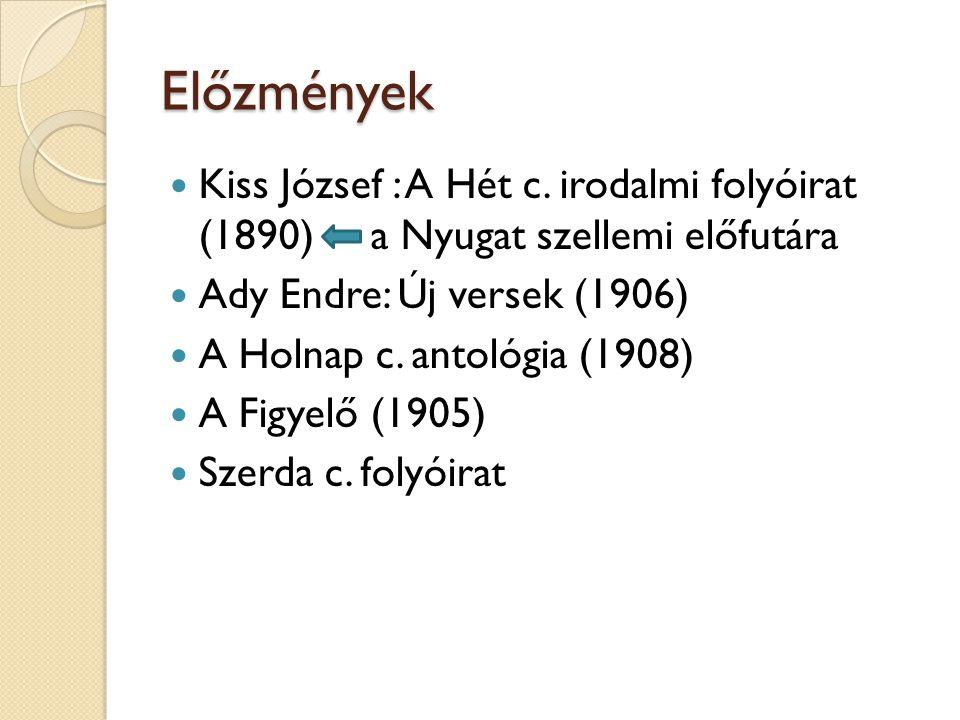 Előzmények Kiss József : A Hét c. irodalmi folyóirat (1890) a Nyugat szellemi előfutára Ady Endre: Új versek (1906) A Holnap c. antológia (1908) A Fig