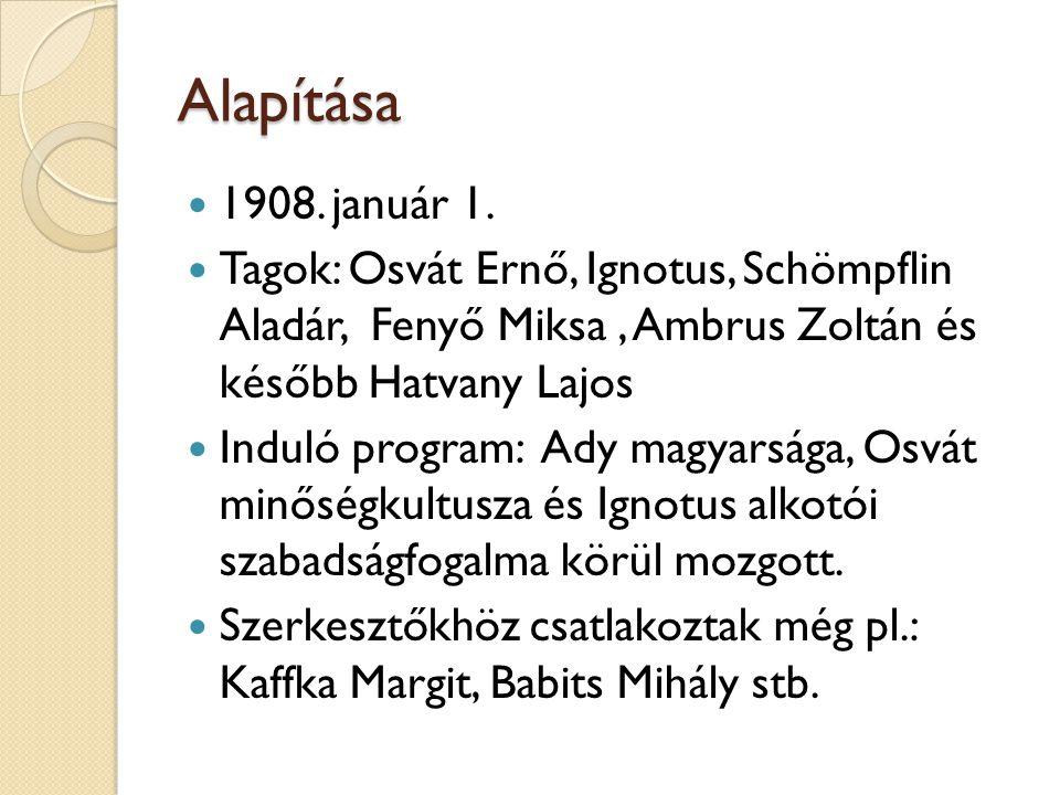 Alapítása 1908. január 1. Tagok: Osvát Ernő, Ignotus, Schömpflin Aladár, Fenyő Miksa, Ambrus Zoltán és később Hatvany Lajos Induló program: Ady magyar