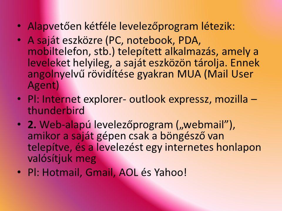 Alapvetően kétféle levelezőprogram létezik: A saját eszközre (PC, notebook, PDA, mobiltelefon, stb.) telepített alkalmazás, amely a leveleket helyileg, a saját eszközön tárolja.