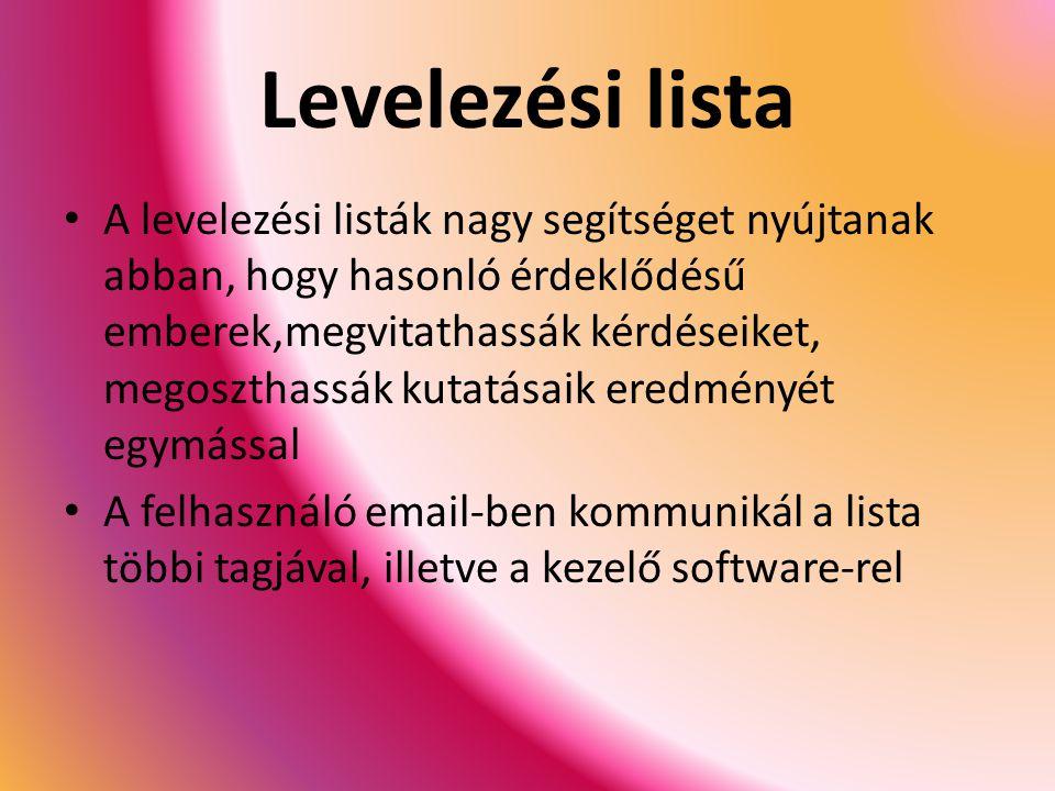 Levelezési lista A levelezési listák nagy segítséget nyújtanak abban, hogy hasonló érdeklődésű emberek,megvitathassák kérdéseiket, megoszthassák kutatásaik eredményét egymással A felhasználó email-ben kommunikál a lista többi tagjával, illetve a kezelő software-rel