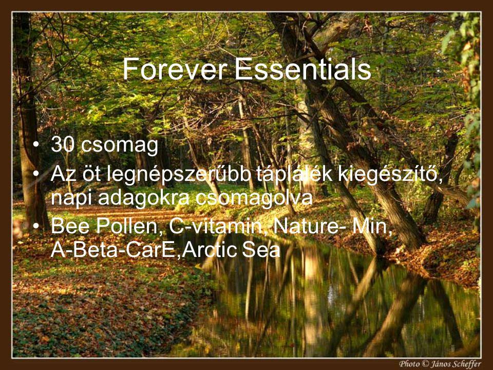 Forever Essentials 30 csomag Az öt legnépszerűbb táplálék kiegészítő, napi adagokra csomagolva Bee Pollen, C-vitamin, Nature- Min, A-Beta-CarE,Arctic