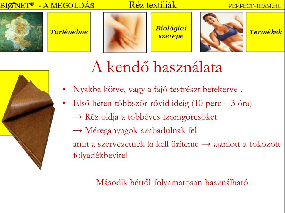 A kendő használata Nyakba kötve, vagy a fájó testrészt betekerve.