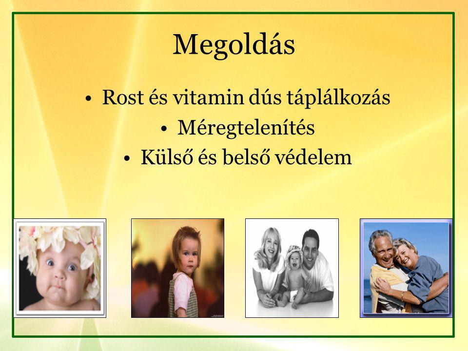 Megoldás Rost és vitamin dús táplálkozás Méregtelenítés Külső és belső védelem