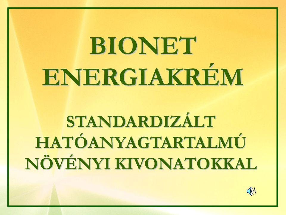BIONET ENERGIAKRÉM STANDARDIZÁLT HATÓANYAGTARTALMÚ NÖVÉNYI KIVONATOKKAL