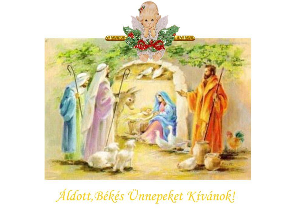 Betlehem csillaga vezet három királyt, köszöntve Mária újszülött kis Fiát.