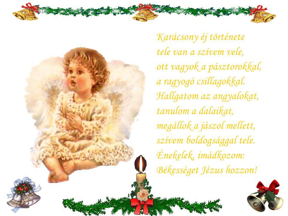 . Karácsony ünnepén az a kívánságom, legyen boldog mindenki ezen a világon. Itt is,ott is,mindenütt legyen olyan Béke,mint amilyen bent lakik ekkor az