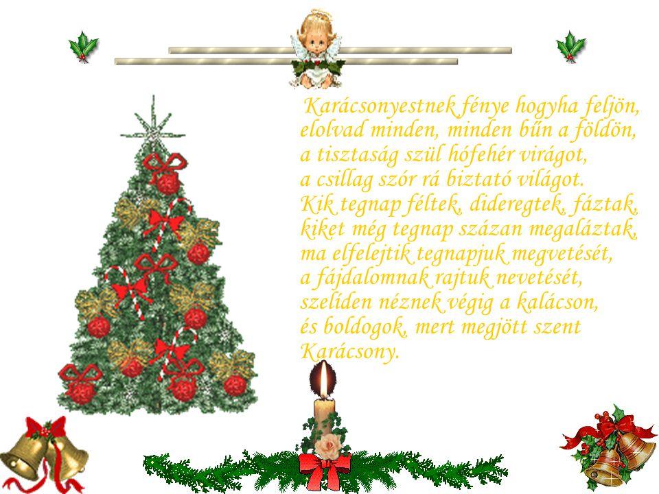 Karácsonyestnek fénye hogyha feljön, elolvad minden, minden bűn a földön, a tisztaság szül hófehér virágot, a csillag szór rá biztató világot.