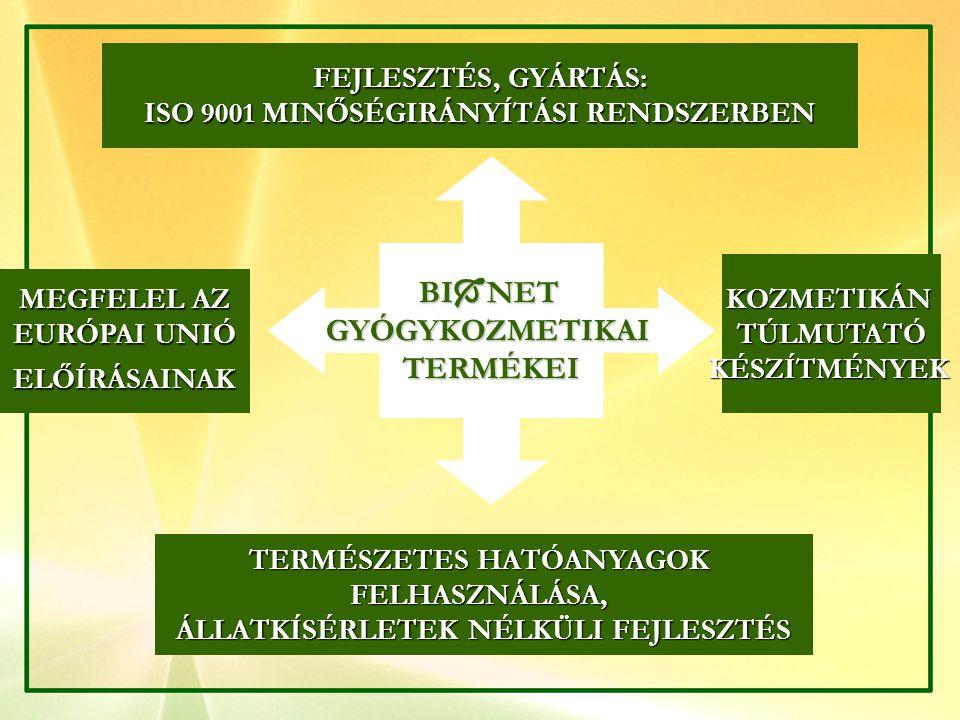 BI  NET GYÓGYKOZMETIKAITERMÉKEI FEJLESZTÉS, GYÁRTÁS: ISO 9001 MINŐSÉGIRÁNYÍTÁSI RENDSZERBEN KOZMETIKÁNTÚLMUTATÓKÉSZÍTMÉNYEK MEGFELEL AZ EURÓPAI UNIÓ