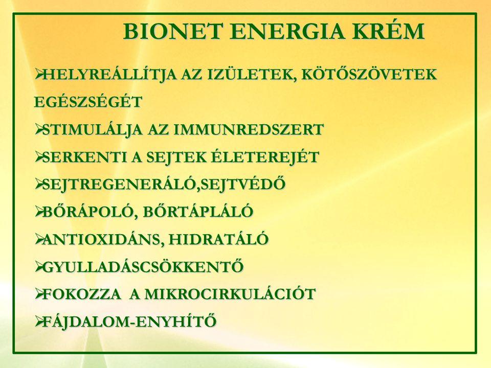 BIONET ENERGIA KRÉM BIONET ENERGIA KRÉM  HELYREÁLLÍTJA AZ IZÜLETEK, KÖTŐSZÖVETEK EGÉSZSÉGÉT  STIMULÁLJA AZ IMMUNREDSZERT  SERKENTI A SEJTEK ÉLETERE
