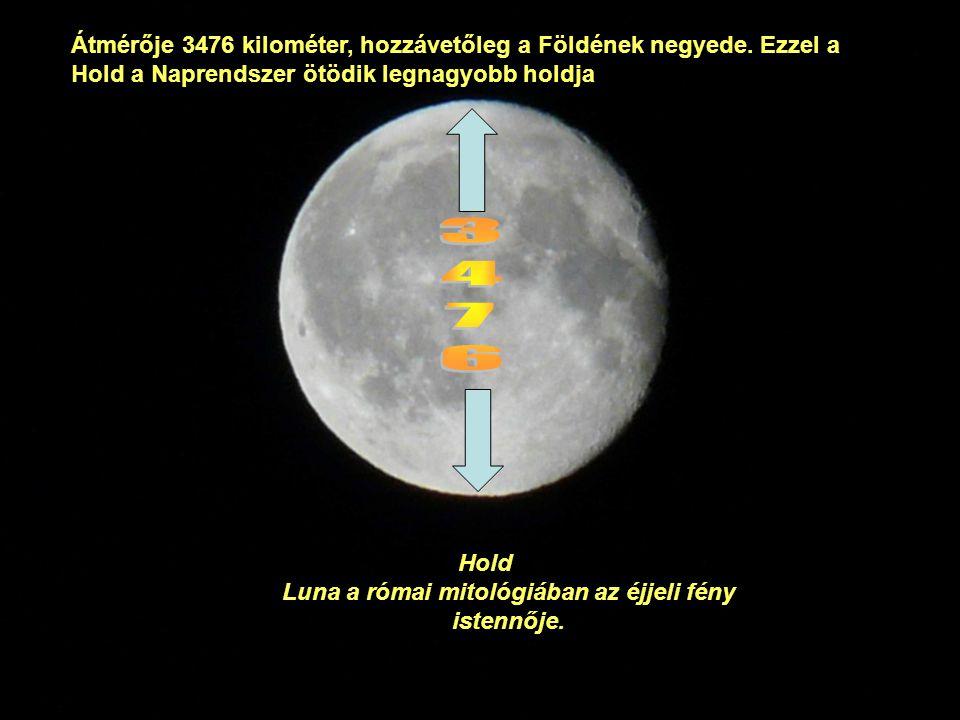 Átmérője 3476 kilométer, hozzávetőleg a Földének negyede.