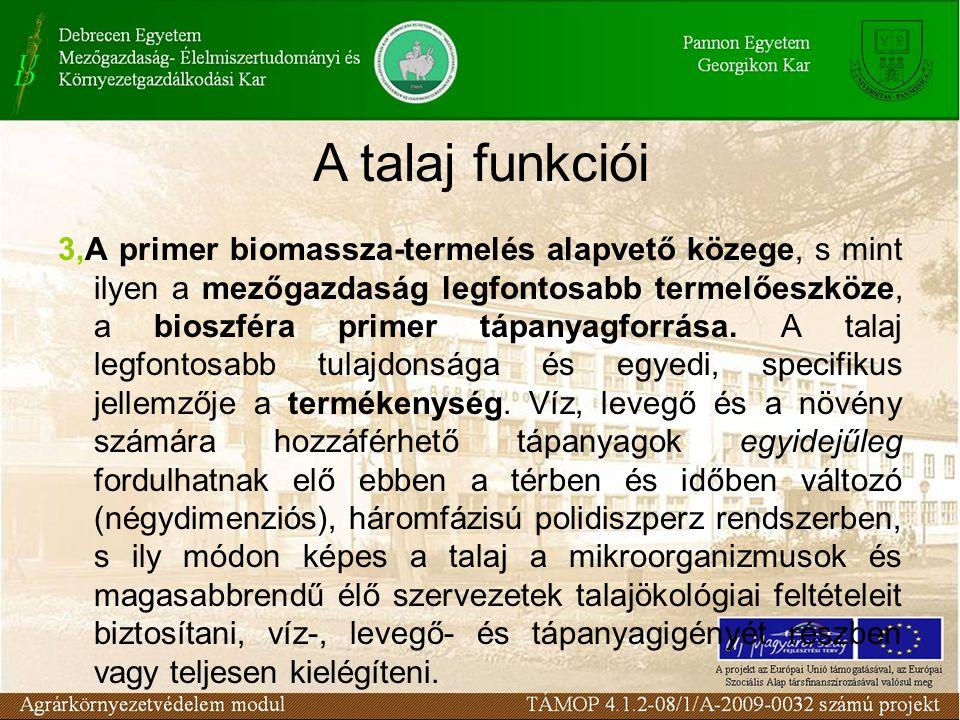 3,A primer biomassza-termelés alapvető közege, s mint ilyen a mezőgazdaság legfontosabb termelőeszköze, a bioszféra primer tápanyagforrása. A talaj le