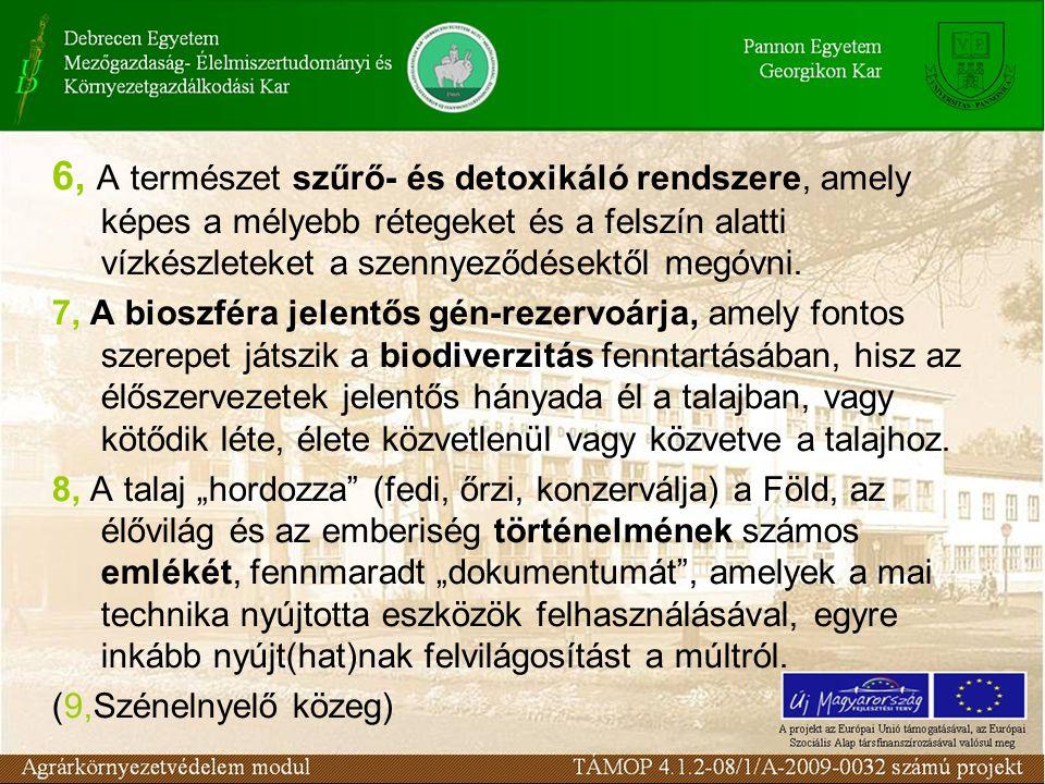 6, A természet szűrő- és detoxikáló rendszere, amely képes a mélyebb rétegeket és a felszín alatti vízkészleteket a szennyeződésektől megóvni.
