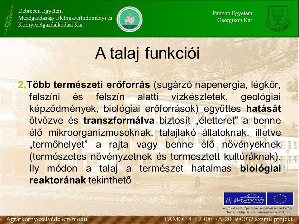 """2,Több természeti erőforrás (sugárzó napenergia, légkör, felszíni és felszín alatti vízkészletek, geológiai képződmények, biológiai erőforrások) együttes hatását ötvözve és transzformálva biztosít """"életteret a benne élő mikroorganizmusoknak, talajlakó állatoknak, illetve """"termőhelyet a rajta vagy benne élő növényeknek (természetes növényzetnek és termesztett kultúráknak)."""