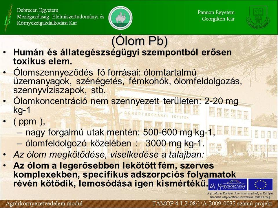 Humán és állategészségügyi szempontból erősen toxikus elem. Ólomszennyeződés fő forrásai: ólomtartalmú üzemanyagok, szénégetés, fémkohók, ólomfeldolgo