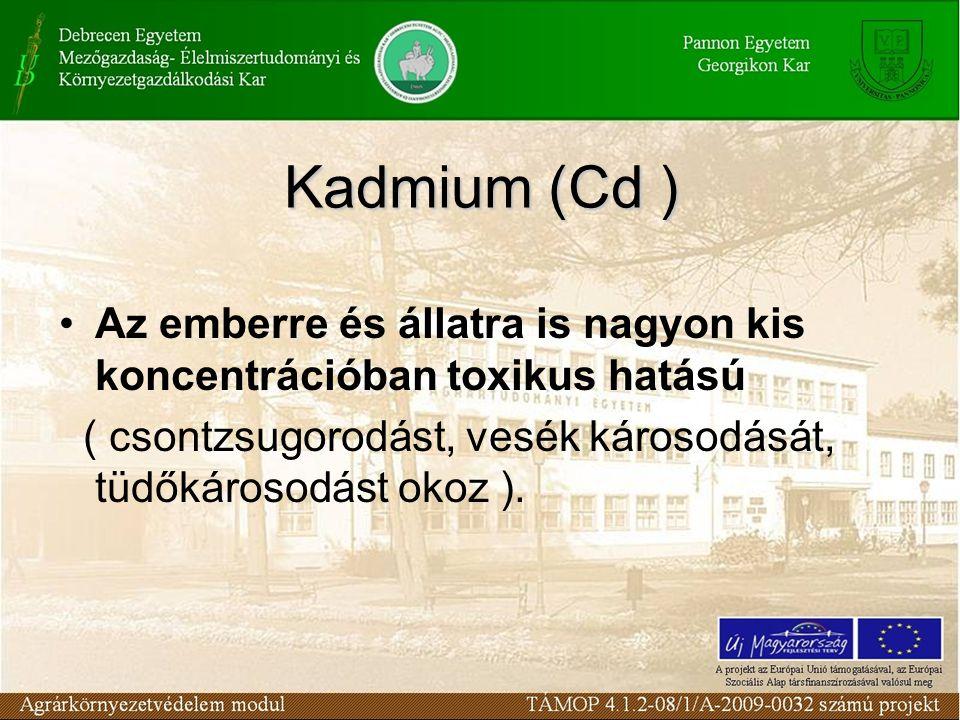 Az emberre és állatra is nagyon kis koncentrációban toxikus hatású ( csontzsugorodást, vesék károsodását, tüdőkárosodást okoz ). Kadmium (Cd )