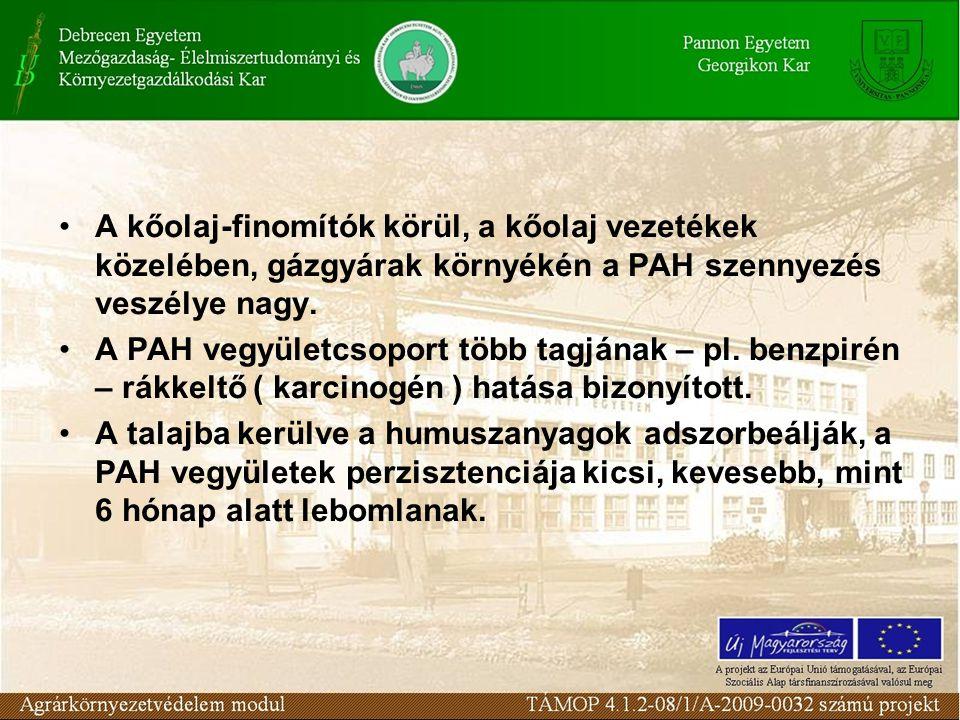 A kőolaj-finomítók körül, a kőolaj vezetékek közelében, gázgyárak környékén a PAH szennyezés veszélye nagy. A PAH vegyületcsoport több tagjának – pl.