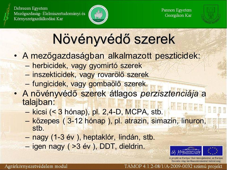 A mezőgazdaságban alkalmazott peszticidek: –herbicidek, vagy gyomirtó szerek –inszekticidek, vagy rovarölő szerek –fungicidek, vagy gombaölő szerek. A