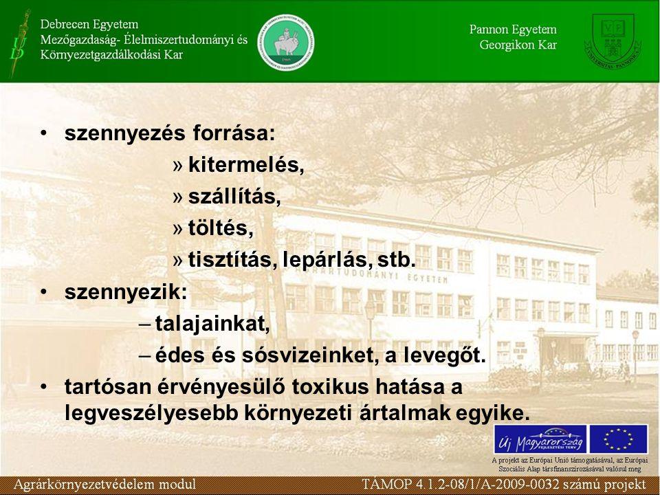 szennyezés forrása: »kitermelés, »szállítás, »töltés, »tisztítás, lepárlás, stb. szennyezik: –talajainkat, –édes és sósvizeinket, a levegőt. tartósan