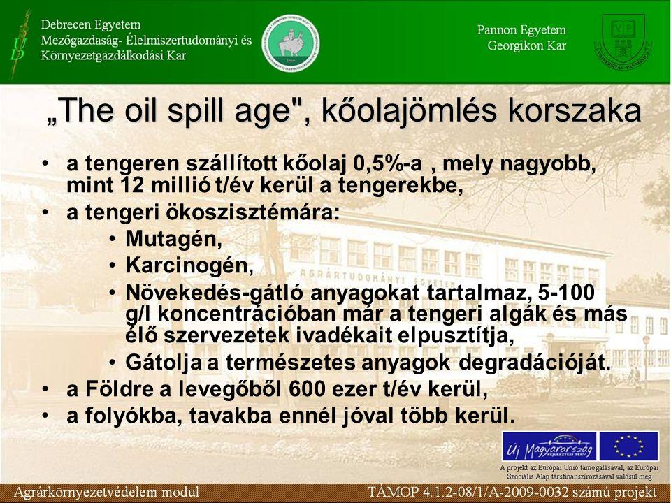 a tengeren szállított kőolaj 0,5%-a, mely nagyobb, mint 12 millió t/év kerül a tengerekbe, a tengeri ökoszisztémára: Mutagén, Karcinogén, Növekedés-gá