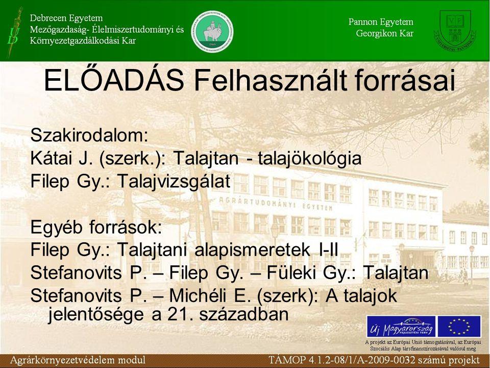 Szakirodalom: Kátai J. (szerk.): Talajtan - talajökológia Filep Gy.: Talajvizsgálat Egyéb források: Filep Gy.: Talajtani alapismeretek I-II Stefanovit
