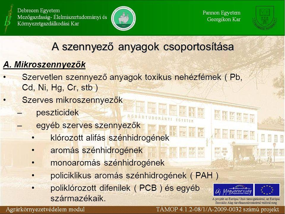 A. Mikroszennyezők Szervetlen szennyező anyagok toxikus nehézfémek ( Pb, Cd, Ni, Hg, Cr, stb ) Szerves mikroszennyezők –peszticidek –egyéb szerves sze