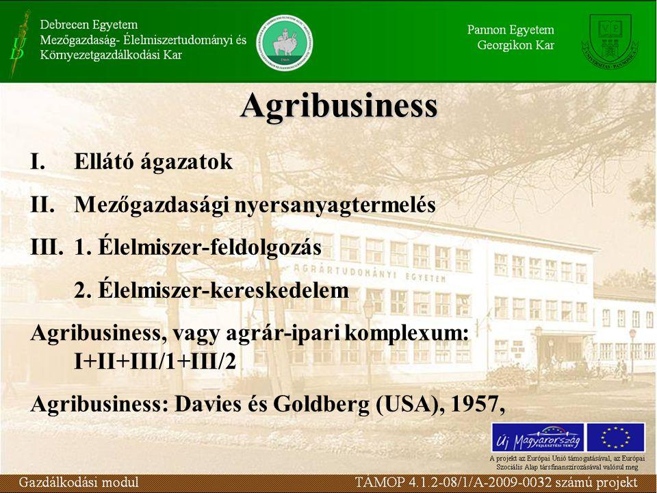 Agribusiness I.Ellátó ágazatok II.Mezőgazdasági nyersanyagtermelés III.1. Élelmiszer-feldolgozás 2. Élelmiszer-kereskedelem Agribusiness, vagy agrár-i
