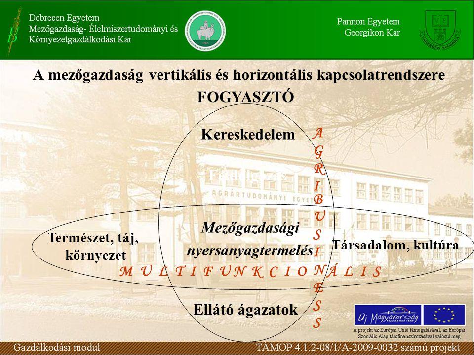A mezőgazdaság vertikális és horizontális kapcsolatrendszere FOGYASZTÓ Mezőgazdasági nyersanyagtermelés Természet, táj, környezet Társadalom, kultúra