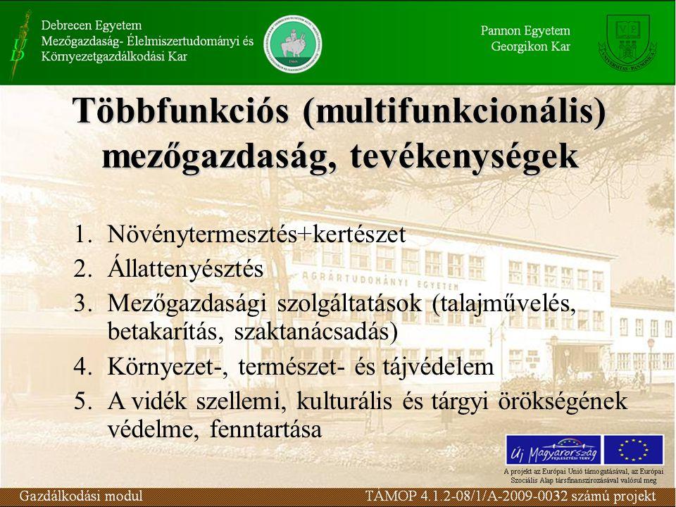 Többfunkciós (multifunkcionális) mezőgazdaság, tevékenységek 1.Növénytermesztés+kertészet 2.Állattenyésztés 3.Mezőgazdasági szolgáltatások (talajművel