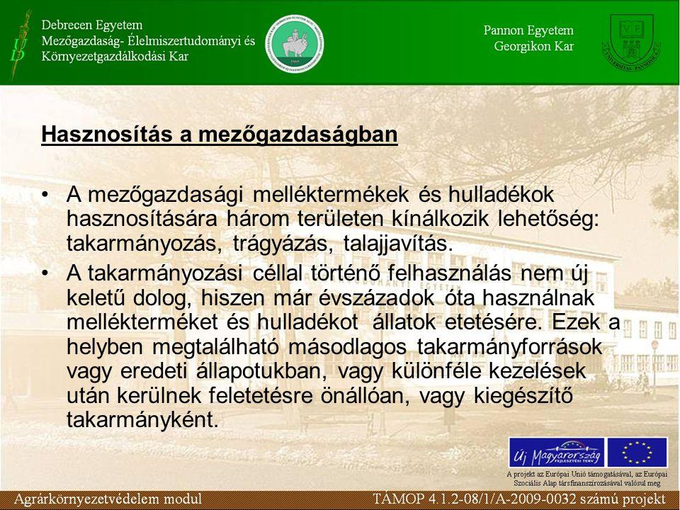 Hasznosítás a mezőgazdaságban A mezőgazdasági melléktermékek és hulladékok hasznosítására három területen kínálkozik lehetőség: takarmányozás, trágyáz