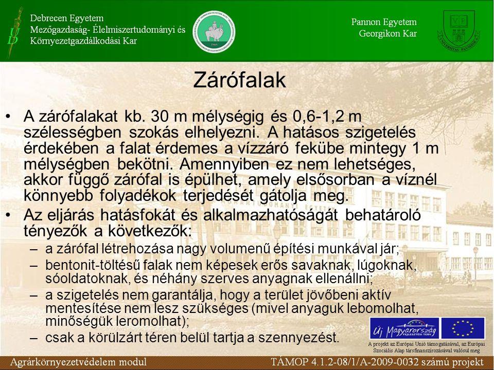 Zárófalak A zárófalakat kb. 30 m mélységig és 0,6-1,2 m szélességben szokás elhelyezni.