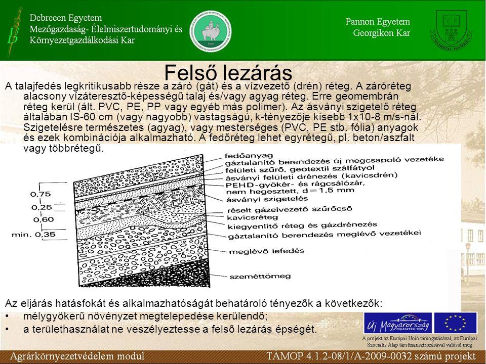 Felső lezárás A talajfedés legkritikusabb része a záró (gát) és a vízvezető (drén) réteg.