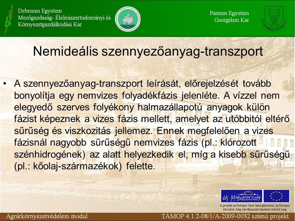 A szennyezőanyag-transzport leírását, előrejelzését tovább bonyolítja egy nemvizes folyadékfázis jelenléte.