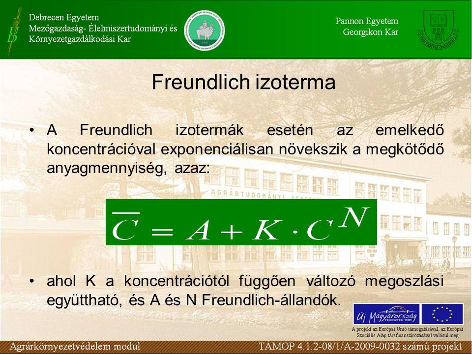 A Freundlich izotermák esetén az emelkedő koncentrációval exponenciálisan növekszik a megkötődő anyagmennyiség, azaz: ahol K a koncentrációtól függően változó megoszlási együttható, és A és N Freundlich-állandók.