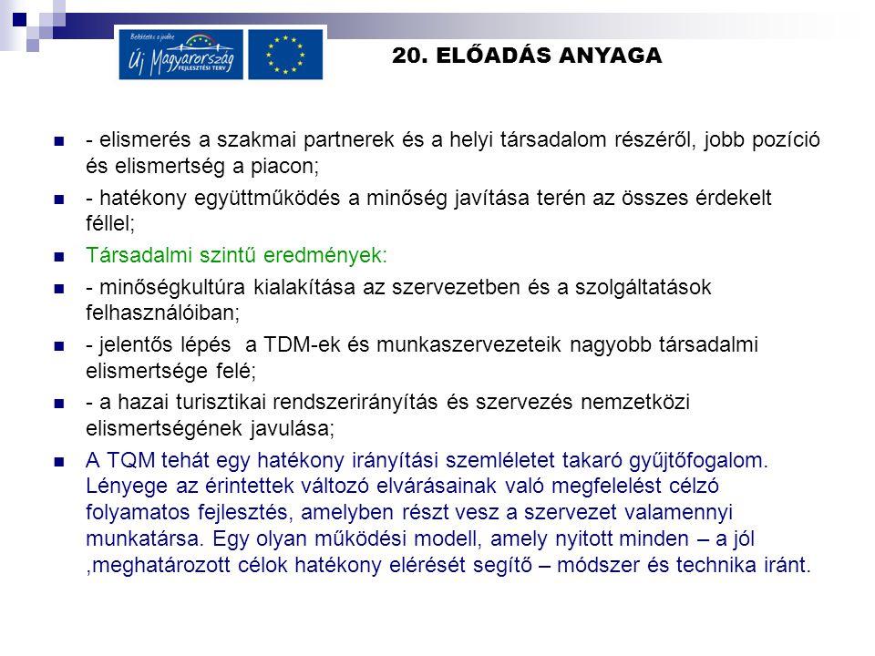 20. ELŐADÁS ANYAGA - elismerés a szakmai partnerek és a helyi társadalom részéről, jobb pozíció és elismertség a piacon; - hatékony együttműködés a mi