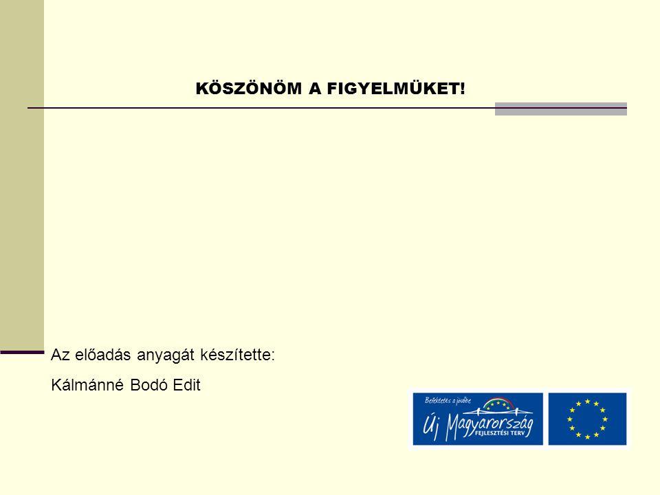 KÖSZÖNÖM A FIGYELMÜKET! Az előadás anyagát készítette: Kálmánné Bodó Edit
