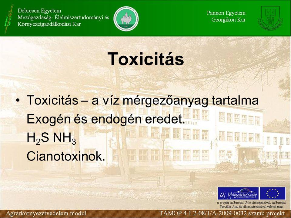 Toxicitás Toxicitás – a víz mérgezőanyag tartalma Exogén és endogén eredet. H 2 S NH 3 Cianotoxinok.
