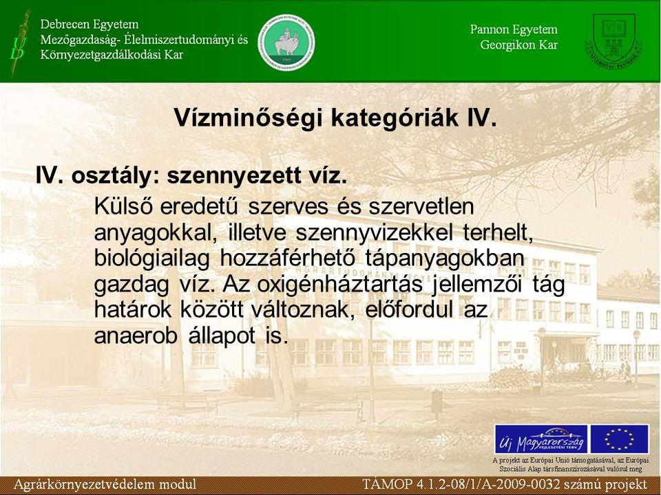 Vízminőségi kategóriák IV. IV. osztály: szennyezett víz. Külső eredetű szerves és szervetlen anyagokkal, illetve szennyvizekkel terhelt, biológiailag