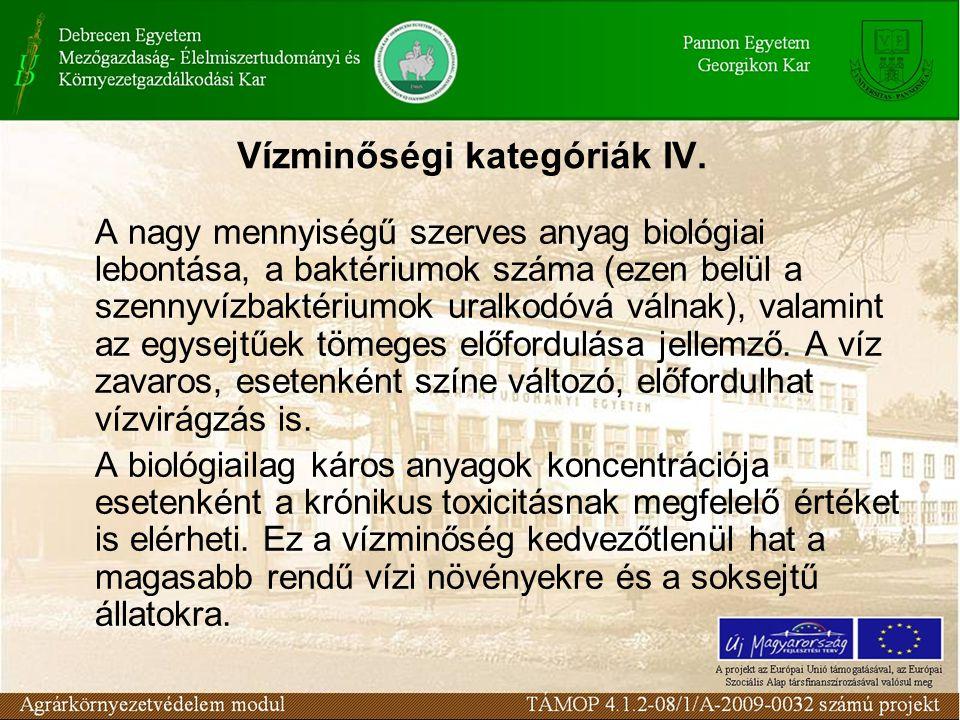 Vízminőségi kategóriák IV.