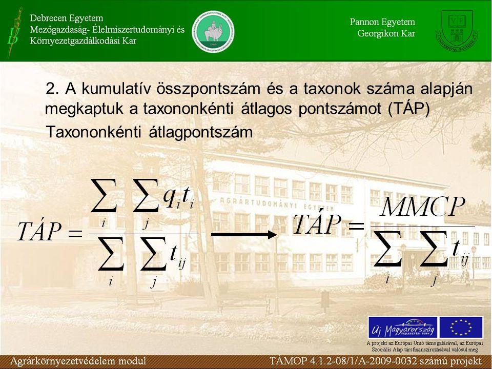 2. A kumulatív összpontszám és a taxonok száma alapján megkaptuk a taxononkénti átlagos pontszámot (TÁP) Taxononkénti átlagpontszám