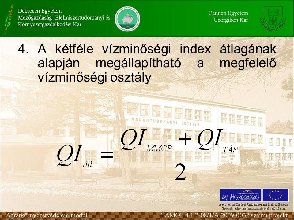 4. A kétféle vízminőségi index átlagának alapján megállapítható a megfelelő vízminőségi osztály