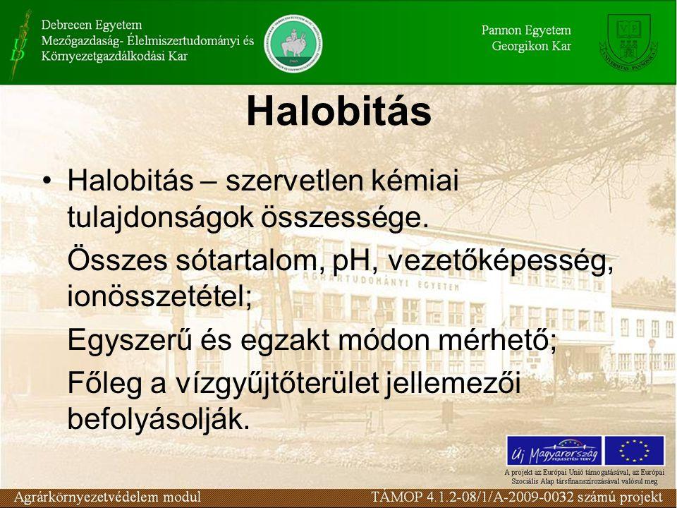 Halobitás Halobitás – szervetlen kémiai tulajdonságok összessége. Összes sótartalom, pH, vezetőképesség, ionösszetétel; Egyszerű és egzakt módon mérhe