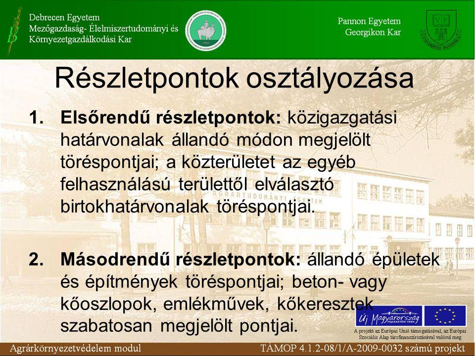Részletpontok osztályozása 1.Elsőrendű részletpontok: közigazgatási határvonalak állandó módon megjelölt töréspontjai; a közterületet az egyéb felhasz