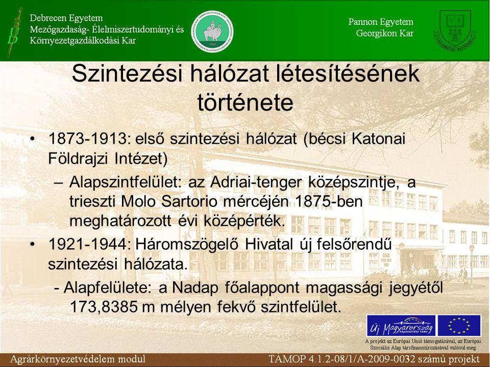 Szintezési hálózat létesítésének története 1873-1913: első szintezési hálózat (bécsi Katonai Földrajzi Intézet) –Alapszintfelület: az Adriai-tenger kö
